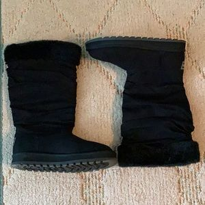 Skechers Mid Calf Faux Fur Slouch Boots